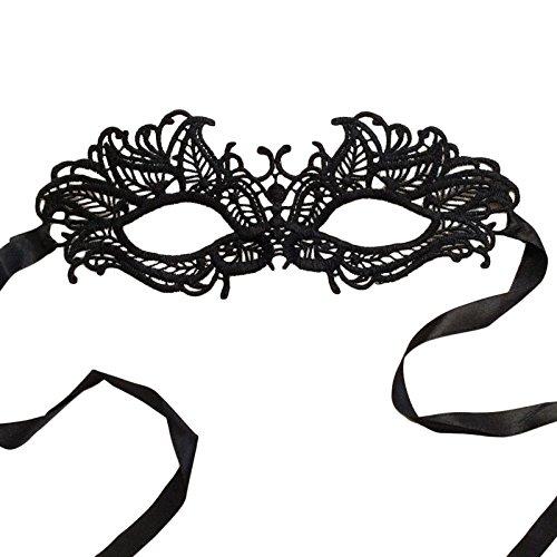 [12 Black Lace Embroidered Masquerade Venetian Mask] (Black Lace Masquerade Masks)