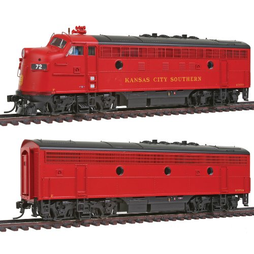 Walthers PROTO 2000 HO Scale Diesel EMD F7A-B Set Powered - Standard DC - Kansas City Southern #72A #72B