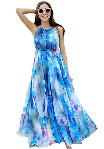 MedeShe Women's Chiffon Floral Holiday Beach Bridesmaid Maxi Dress Sundress (XX-Large, Blue Floral)