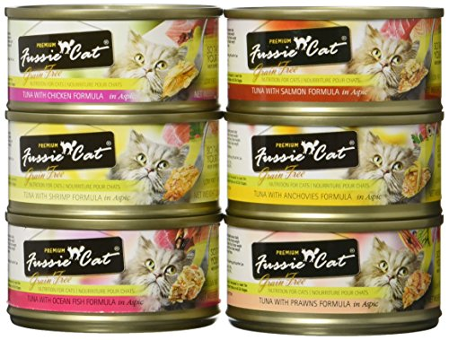 Fussie Cat Premium Grain-Free Canned Wet Food Variety Bundle - 2.8 Oz. - Tuna with Chicken, Tuna with Shrimp, Tuna with Oceanfish, Tuna with Salmon, Tuna with Mussels, and Tuna with Prawns (12 Pack)