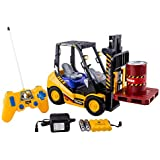 WolVol 6 Channel Electric Rc Remote Control Full Functional Forklift Toy with Lights, Pallet and Barrel Pretend Play