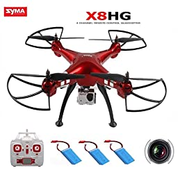AICase Syma X8HG (2PC Extra Battery) with 8MP Camera 2.4G 6 Axis Gyro Headless RC Quadcopter and New Altitude Hold Mode Drone