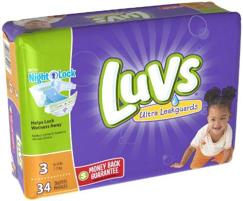 Luvs Diapers 34 Piece Ultra Leak Guards Night Lock 3, 28.8oz