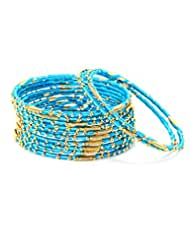 Bindhani Turquoise Thread & Gold Plated Set Of 12 Bangle For Women