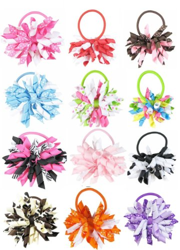 "Ship From USA--HipGirl Boutique Girls 12pc Set 3"" Grosgrain Ribbon Korker Hair Bow Pony Holders"