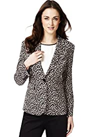Single Breasted 1 Button Animal Print Blazer
