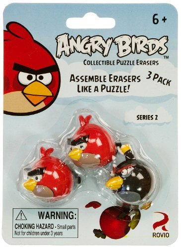 Red Birds & Black Bird: Angry Birds Collectible Puzzle Erasers Series 2