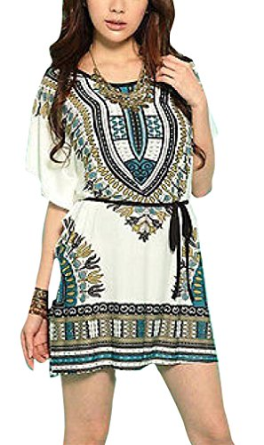 Women'S Summer Retro Vintage Bohemian Casual Dresses Ice Silk Dress