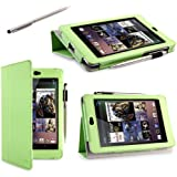 i-BLASON Auto Sleep / Wake Google Nexus 7 inch Tablet Leather Case Cover / Stylus for 8GB 16GB 3 Year Warranty (Nexus 7, Green)