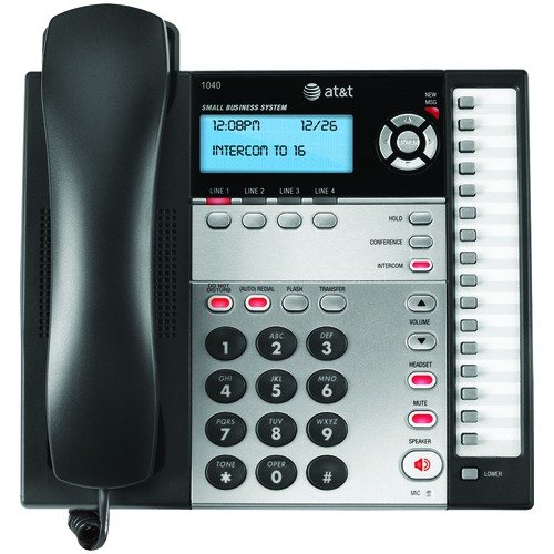 att-1040-4-line-expandable-corded-phone-system-with-speakerphone-1-handset-black-silver