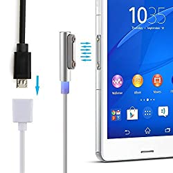 BlueFire® Aluminum Micro USB Female to Magnetic Charging Charge Extension Cable with LED Indicator for Sony Xperia Z1 Z2 Z3(Silver)