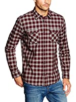 TOM TAILOR Camisa Hombre (Rojo)