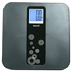 Venus ABS Black Personal Electronic Digital LCD Weight Machine Body Fitness Weighing Bathroom Scale Weight Machine with Back Light