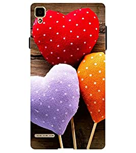 Chiraiyaa Designer Printed Premium Back Cover Case for OPPO F1 (pattern heart boy girl friend valentine miss kiss baloon pillow soft) (Multicolor)