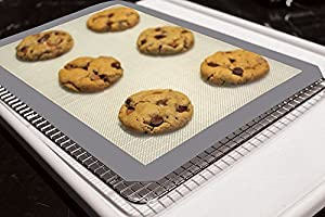 Premium Stainless Steel Cooling Rack & Silicone Baking Mat Bakeware Set - Fits Standard Half Sheet Pan - Perfect for Cookies & Bacon - Cool Gift Ideas for Women and Men - Enhance Your Healthy Cooking