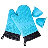KEDSUM Professional Heat Resistant Silicone Extra Long Oven Mitts with Quilted Liner & Oven Mini Mitt