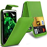 ( Green ) HTC One X Premium Stylish Protective Faux Credit / Debit Card Slot Leather Flip Skin Case Cover & LCD Screen Protector Guard by Spyrox