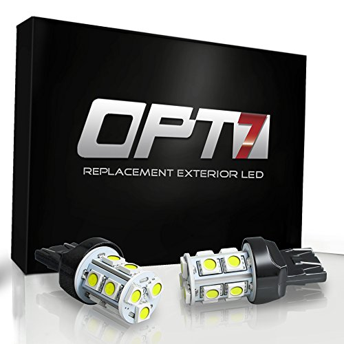 Opt7® 3156 T-25-2 Advanced Bright 13-Smd Led Bulb - Reverse Signal Backup Light Bulbs W/ Load Resistors - White