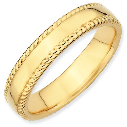 Sterling Silver Stackable Expressions Gold-plated Ring - Size 8 - JewelryWeb