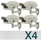Floureon - Lot de 4 Caméras Factice Fausse avec Panneau Solaire Dummy Camera Caméra CCTV Sécurité Surveillance Extérieur avec rouge LED - Blanc