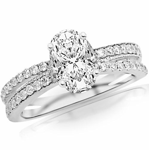 2.11 Carat Oval Cut / Shape Gia Certified 14K White Gold Twisting Split Shank Pave Set Diamonds Engagement Ring ( H Color , Vs2 Clarity )
