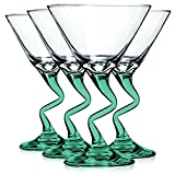 Libbey Aqua Z Shaped Stem Martini Glasses with Colored Accent - 9 oz. Set of 4- Additional Vibrant Colors Available by TableTop King
