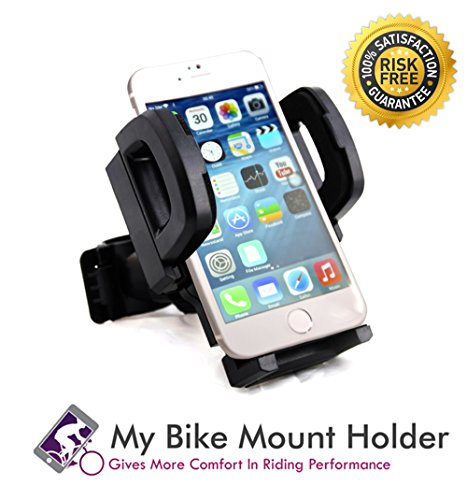 My Bike Mount Holder™ ★ Excellent Bike and Bar Mounting System ★ Perfectly Fit on Bicycles, Motorcycles, Scooters, Strollers and Exercise Equipment ★ Secures Your Device Safely ★ Perfectly Fit in Any Smartphone ★ Samsung ★ Iphone ★ HTC ★ Durable ★ Strong ★ Rotatable ★ Anti Slip ★ Classic Black 324.2
