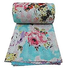 gudri kantha verde puntada colcha de cama de algodón puro estampado de flores se extendió 104