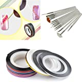 28 Color Nail Art Stripe Striping Tape Line Decoration Sticker 15pcs Painting Brushes Pen Set