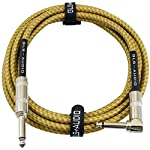 GLS Audio 10 Foot Guitar Instrument Cable - Right Angle 1/4 Inch TS to Straight 1/4 Inch TS 10 FT Brown Yellow Tweed Cloth Jacket - 10 Feet Pro Cord 10' Phono 6.3mm - SINGLE from GLS Audio