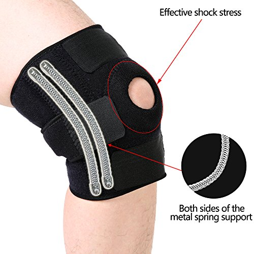 KingMoore Knee Brace Support- Adjustable Size, Black Color