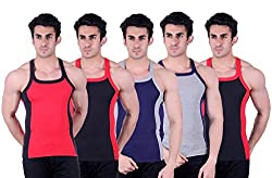 Zimfit Superb Gym Vests - Pack of 5 (RED_BLK_BLU_GRY_BLK_90)