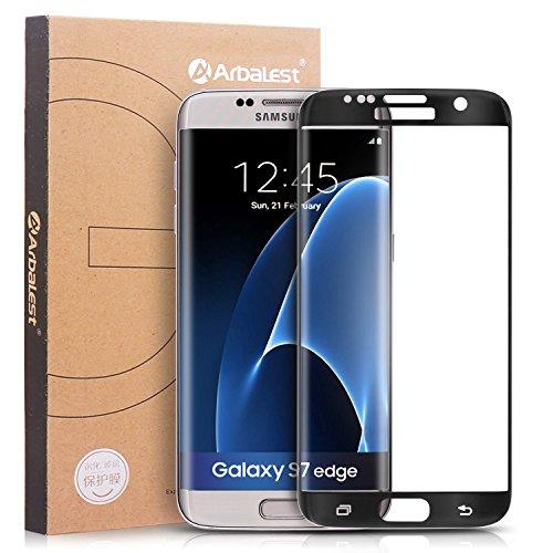 S7 Edge Protectores de Pantalla, Arbalest® Protector Pantalla Cristal Templado Curvo Marco para Samsung® Galaxy™ S7 Edge Negro width=