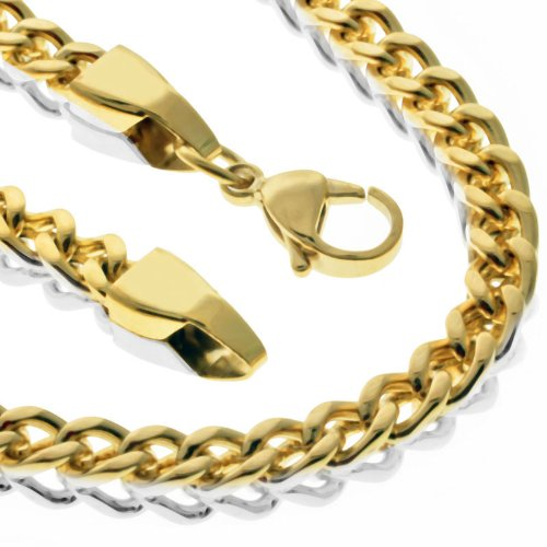 Polished Stainless Steel Franco Chain & Matching Bracelet Set 90 Grams