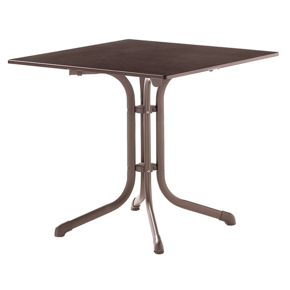 Sieger 1130-70 Boulevard-Tisch mit Puroplan-Platte 80 x 80 cm, Stahlrohrgestell marone, Tischplatte Schieferdekor mocca