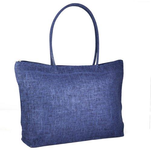 TOOGOO(R) Feminin Paille Tricot Plage Sac a Main d'Ete Shopping Voyage Zippe Sac -bleu fonce