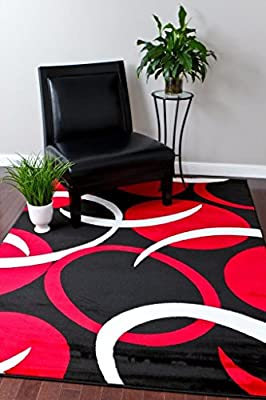 1062 Red White Black Area Rug Abstract Carpet
