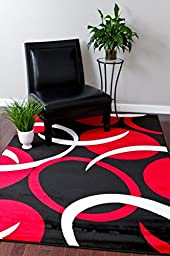 1062 Red Black 5\'2x7\'2 Area Rugs Carpet Modern Abstract New