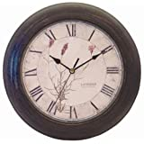 Precision MSF Radio controlled 28cm antique finish black wall clock with lavender floral dialby Precision