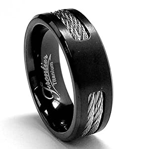 Black Titanium ring Wedding band with Stainless Steel Cables size 7