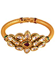 Gehna Mart Ethnic Openebale Kundan Polki - Meena Rich Bracelet In Gold Finish 32.9 Grams