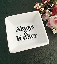 Always & Forever Mini White Porcelian Couples Ring Dish