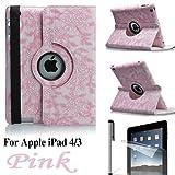 Eallc 360°Rotating Smart Grape Flower Leather Case Cover for Apple iPad 4 3 2 UK Stock (Pink)