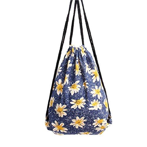 Zaino coulisse, Kingko® Sacche borsa morbida motivi geometrici Tempo libero coulisse zaino iuta viaggio sport scolastico per le donne della ragazza teen (Blu)