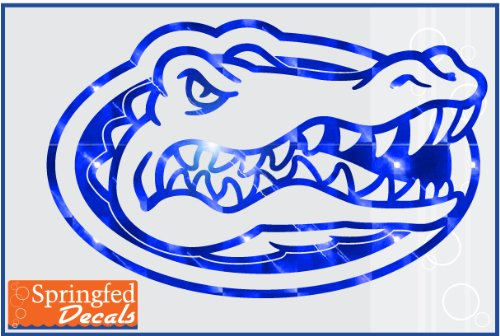 "Florida Gators Blue Mirror Vinyl Gator Head Logo 24"" Vinyl Decal Car Truck Window Uf Sticker"