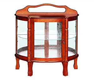 Hlc half round elegant hardwood curio cabinet 36 by 15 by 38 inch brown - Elegant contemporary curio cabinets furniture ...