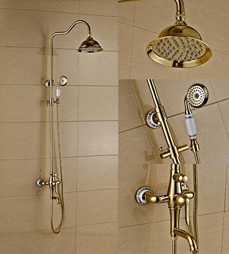 CAC Oro antico bagno doccia set rubinetto continentale e rame Gold-Plated Bagno doccia rubinetto a caldo e a freddo American