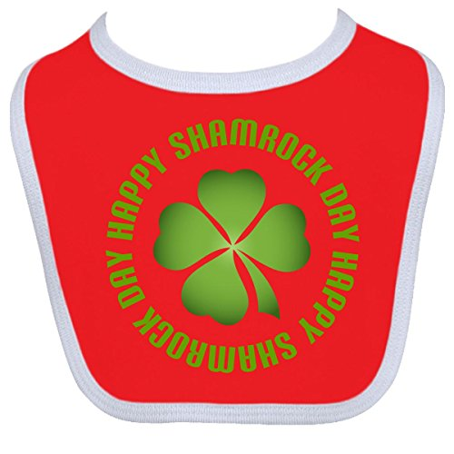Inktastic Baby Boysâ€Tm Happy Shamrock Day Clover Baby Bib One Size Red/White front-1055379
