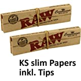 10x RAW Connoisseur KS Slim Papers inkl. Tips 10 Booklets