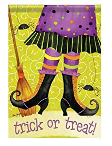 """""""Trick or Treat!"""" Witch Feet Double-Sided 28""""x40"""" Halloween House Flag"""